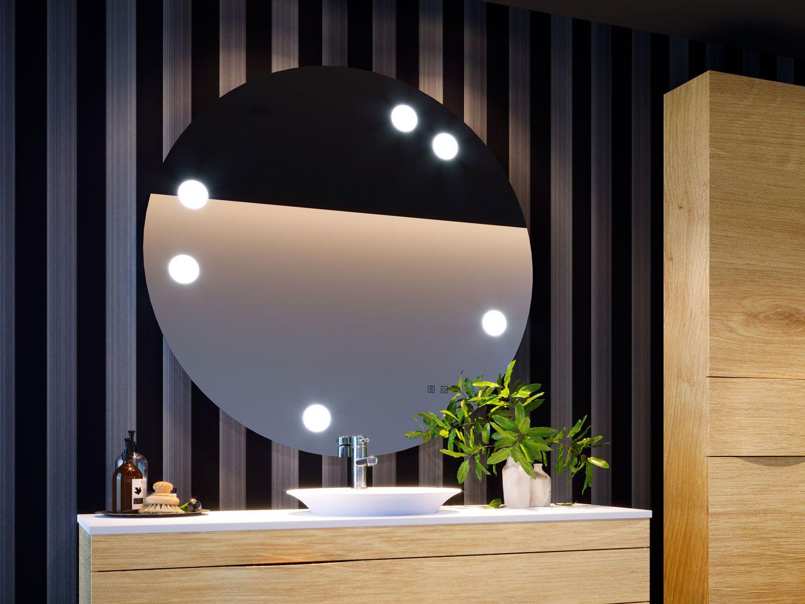 Collection 2018 Decotec Le Miroir De Salle De Bains Tiffany Rond 110 Cm Avec Led Par Spots Integres Miroir Salle De Bain Miroir De Salle De Bain Salle De Bain