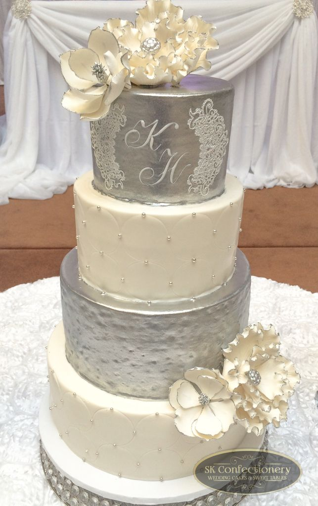 White Silver Wedding Cake For A Beautiful Oakville Reception