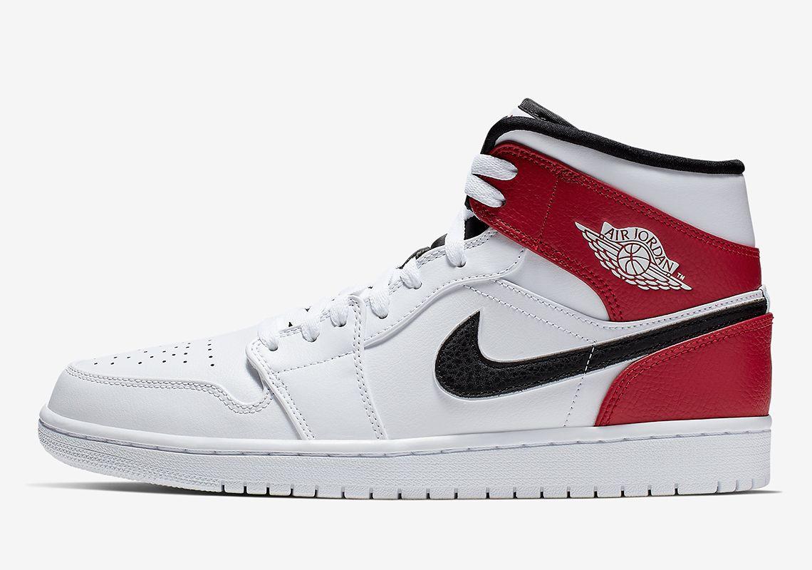 Jordan 1 Mid White Red Black 554724 116 Info Air Jordans Red
