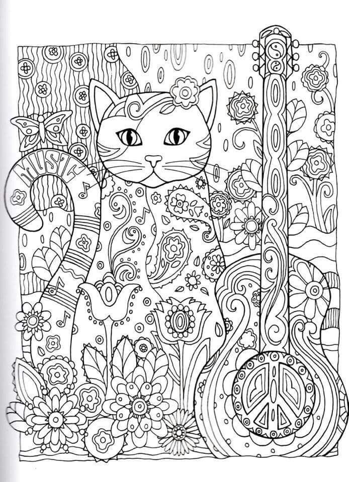 Intricate Cat Coloring Pages Located In CAT Category Free Printable For Kids