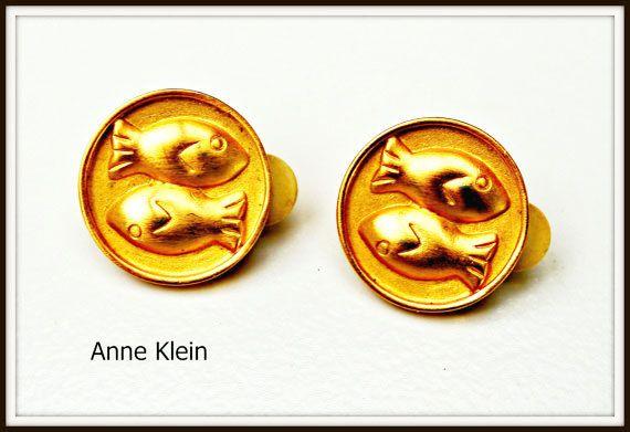 Anne Klein Gold Fish Clip on Earrings