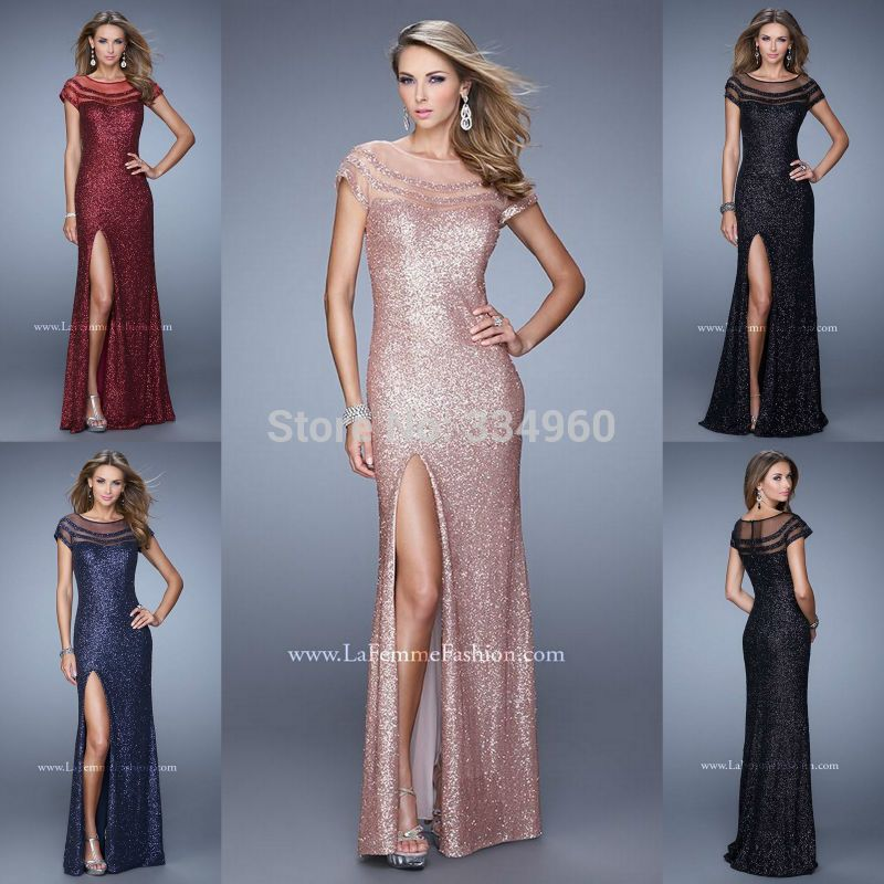 6406464d6f Short Sleeved Sequin Prom Dress Boat Neck Sequined Party Gowns With ...