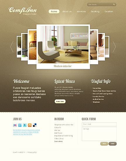 Hotel html5 website design with homepage image carousel - Home design websites free ...