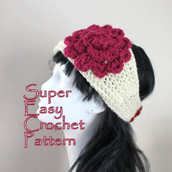 Crochet Pattern Super Easy Crochet Headband With Flower Pdf Aran