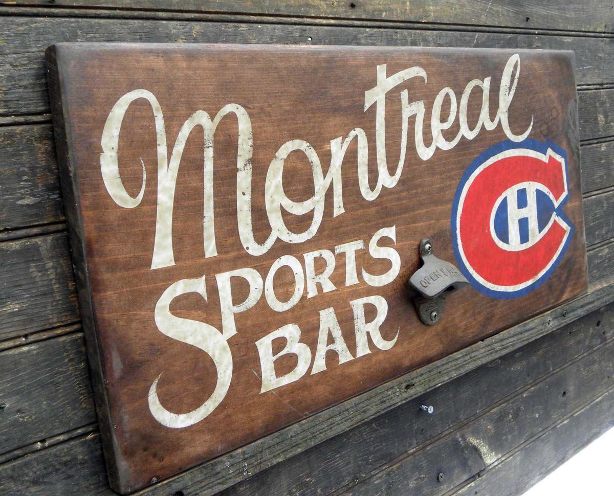 Man Cave Hockey Signs : Montreal canadiens hockey sign hand painted original art