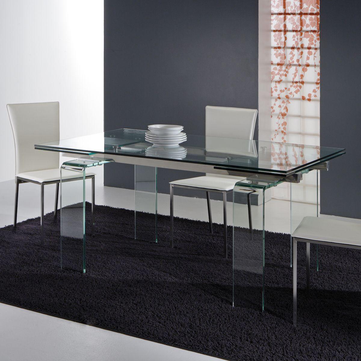 Tavolo Evident in vetro trasparente allungabile a 240 cm Un ...