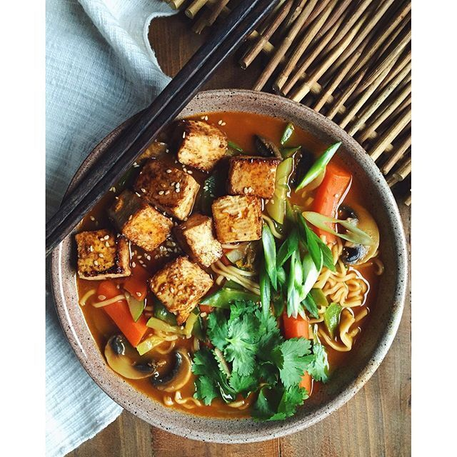 Ramen Noodles With Zucchini, Mushrooms, Pan-fried Tofu And Gochujang recipe by Michelle Braxton | The Feedfeed