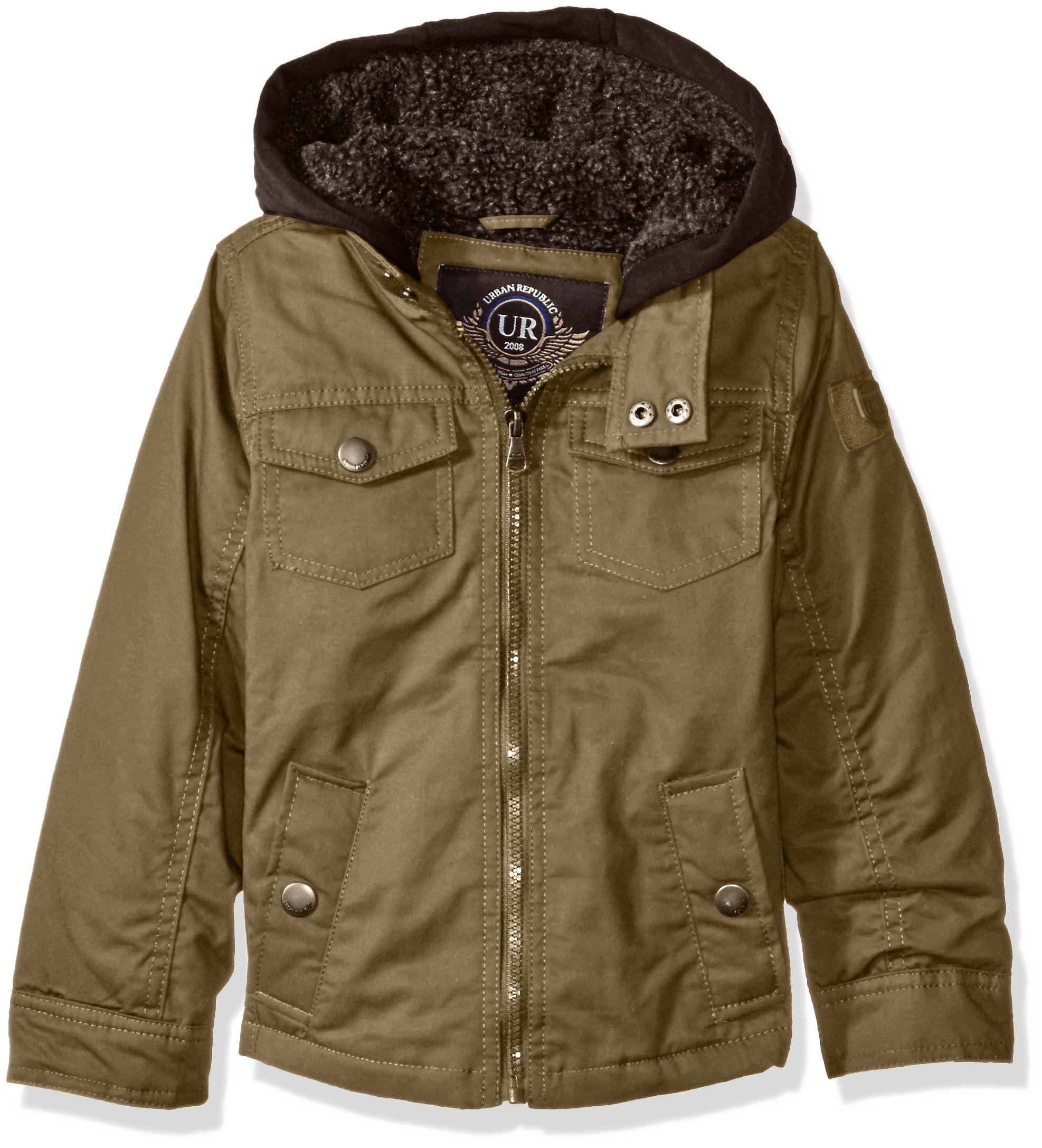 3c52db4bb185 Urban Republic Little Boys  Washed Cotton Twill Jacket with Fleece ...