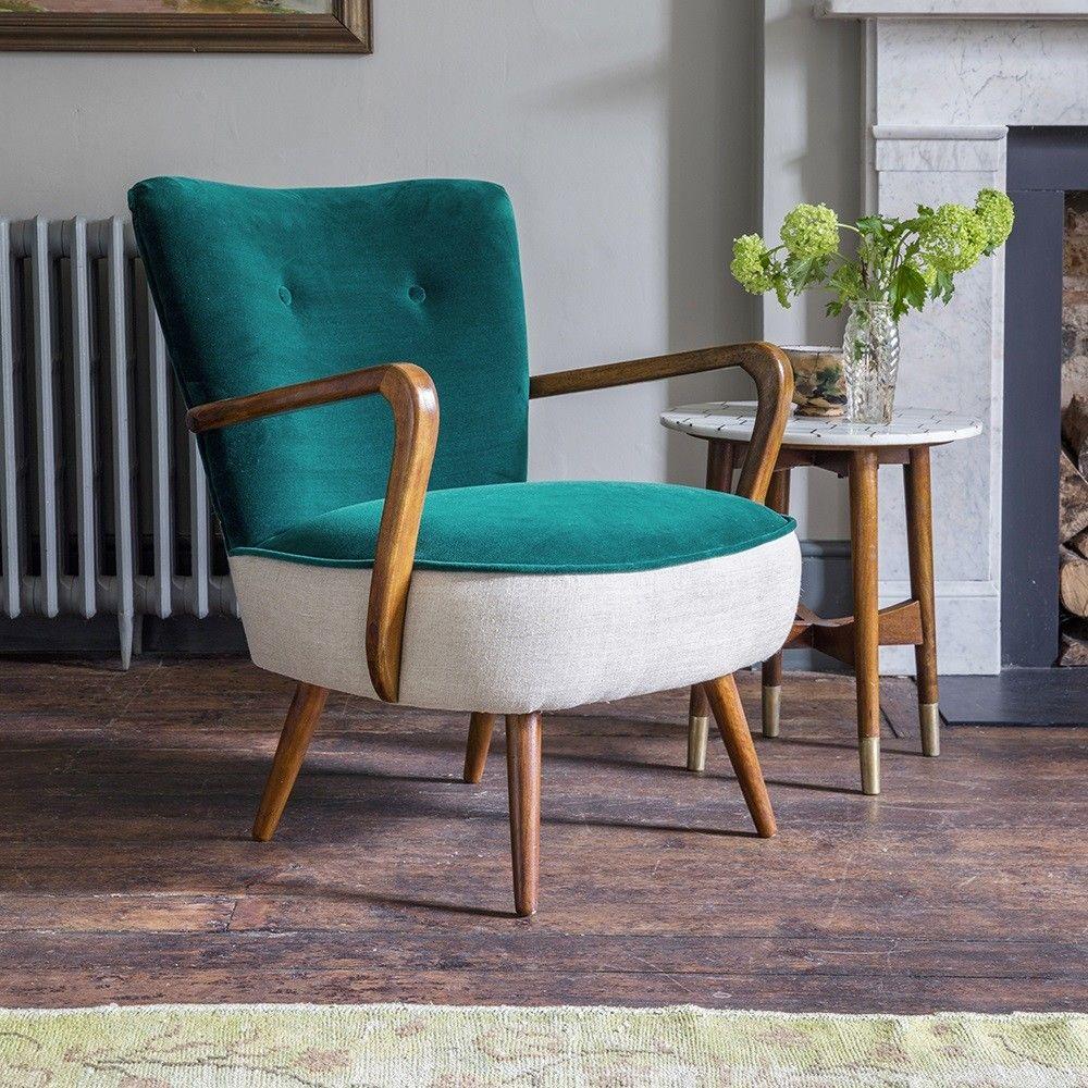 Calvin Chair In Dark Teal Velvet And Natural Linen
