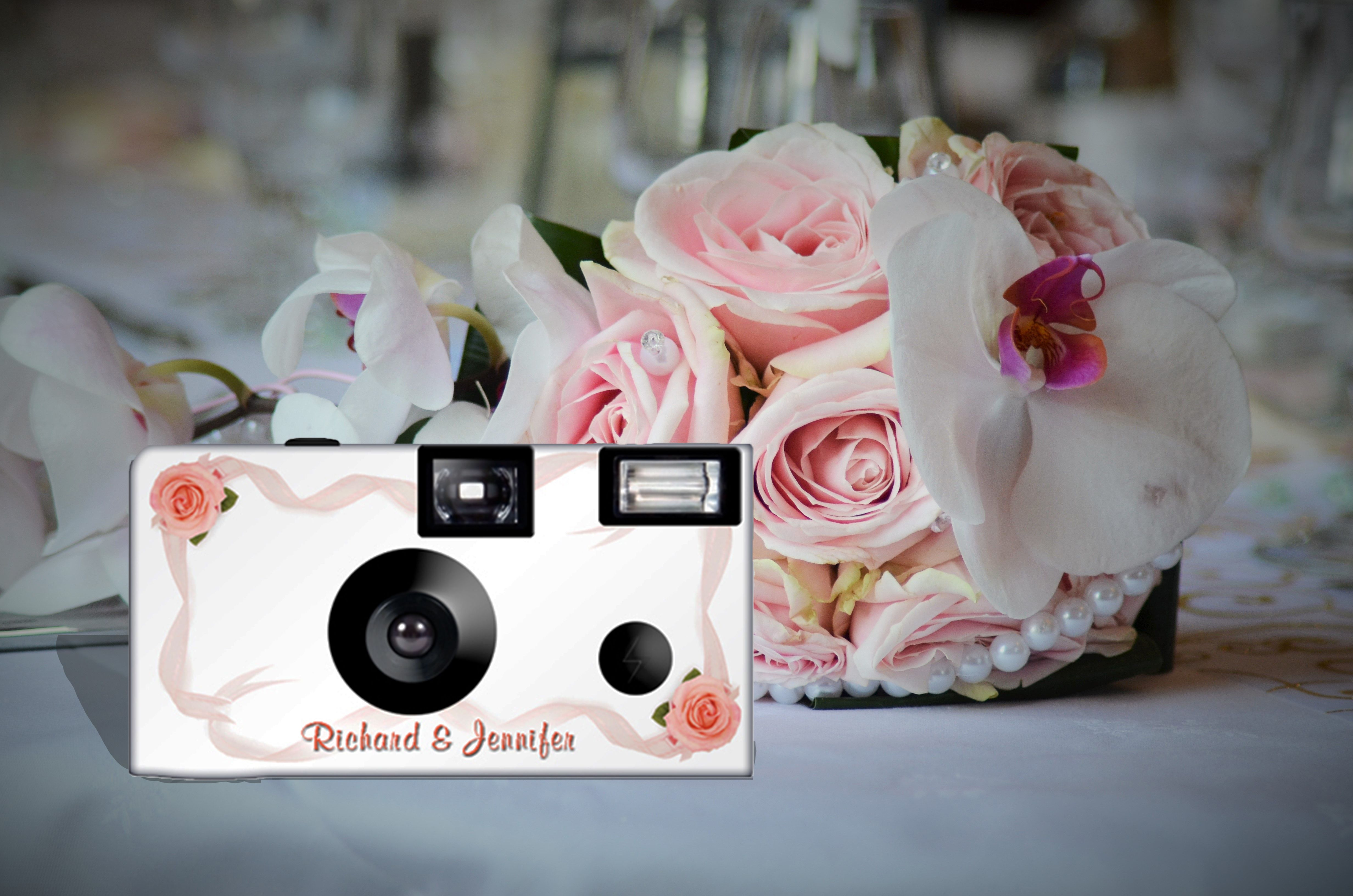 Roses And Ribbons Camera Disposable Camera Wedding Wedding Camera Heart Wedding