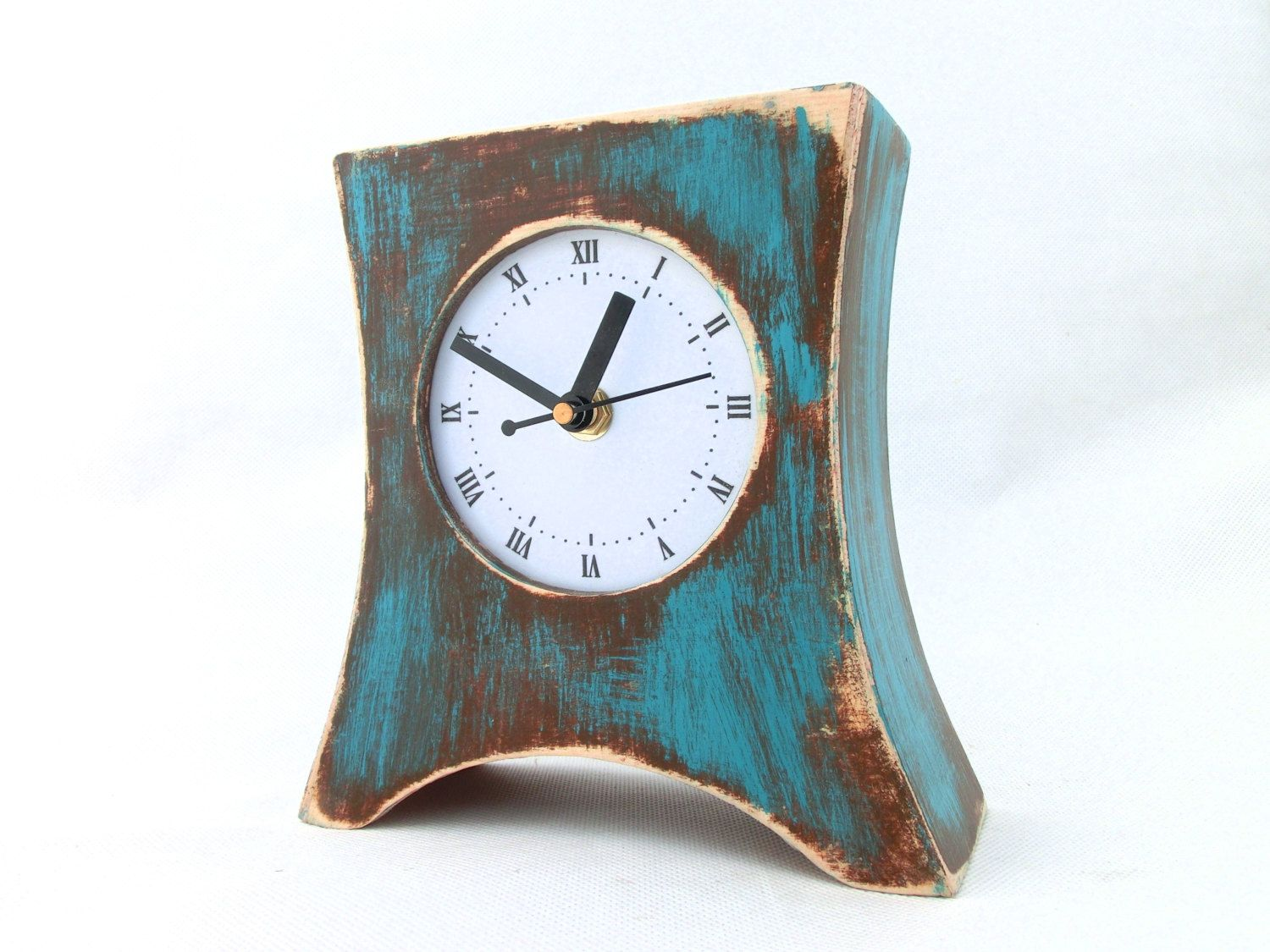 Mantel Clock Arrow Brown Turquoise Table Clock Wood Clock For Desk Distressed Mantle Rustic Clock Birthday Gift For Her Turquoise Decor Rustic Clock Wood Clocks Turquoise Table
