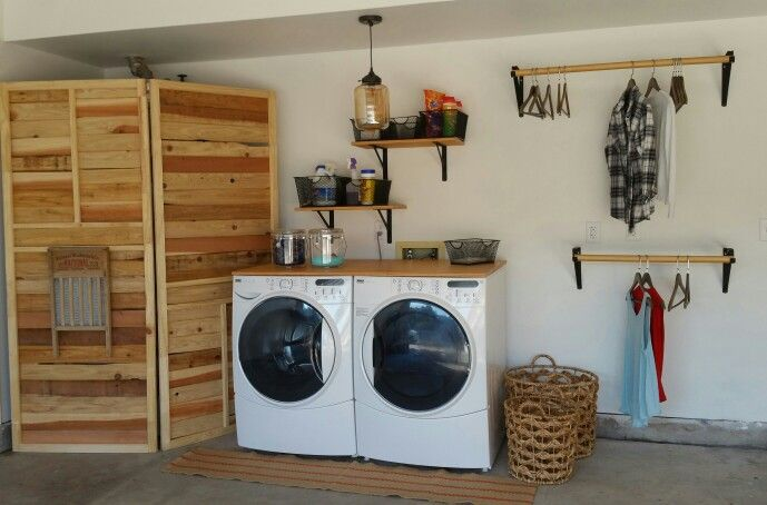 Simple Garage Laundry Screen Covering Water Heater Garage