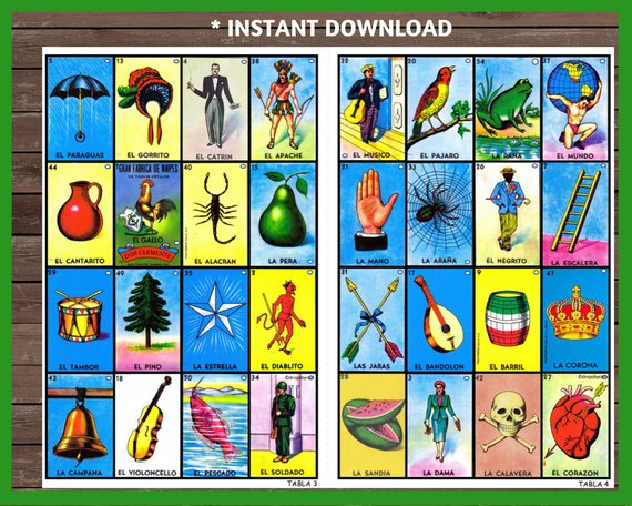 photograph about Printable Loteria Mexicana named 30 Loteria Playing cards, Electronic Document, Prompt Obtain Items