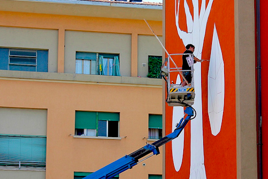 By using a special photocatalytic paint, an artist's wall painting can help reduce smog.