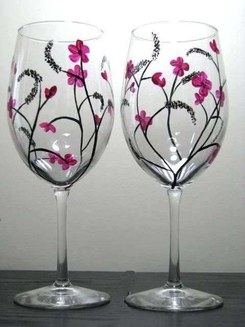 Two hand painted wine glasses with japanese inspired for Type of paint to use on wine glasses