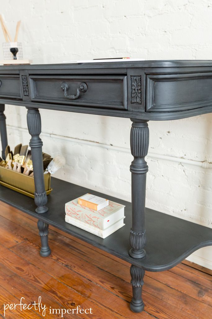 Graphite Black Wax Console Table Makeover Perfectly Imperfect Table Makeover Console Table Furniture Makeover Diy