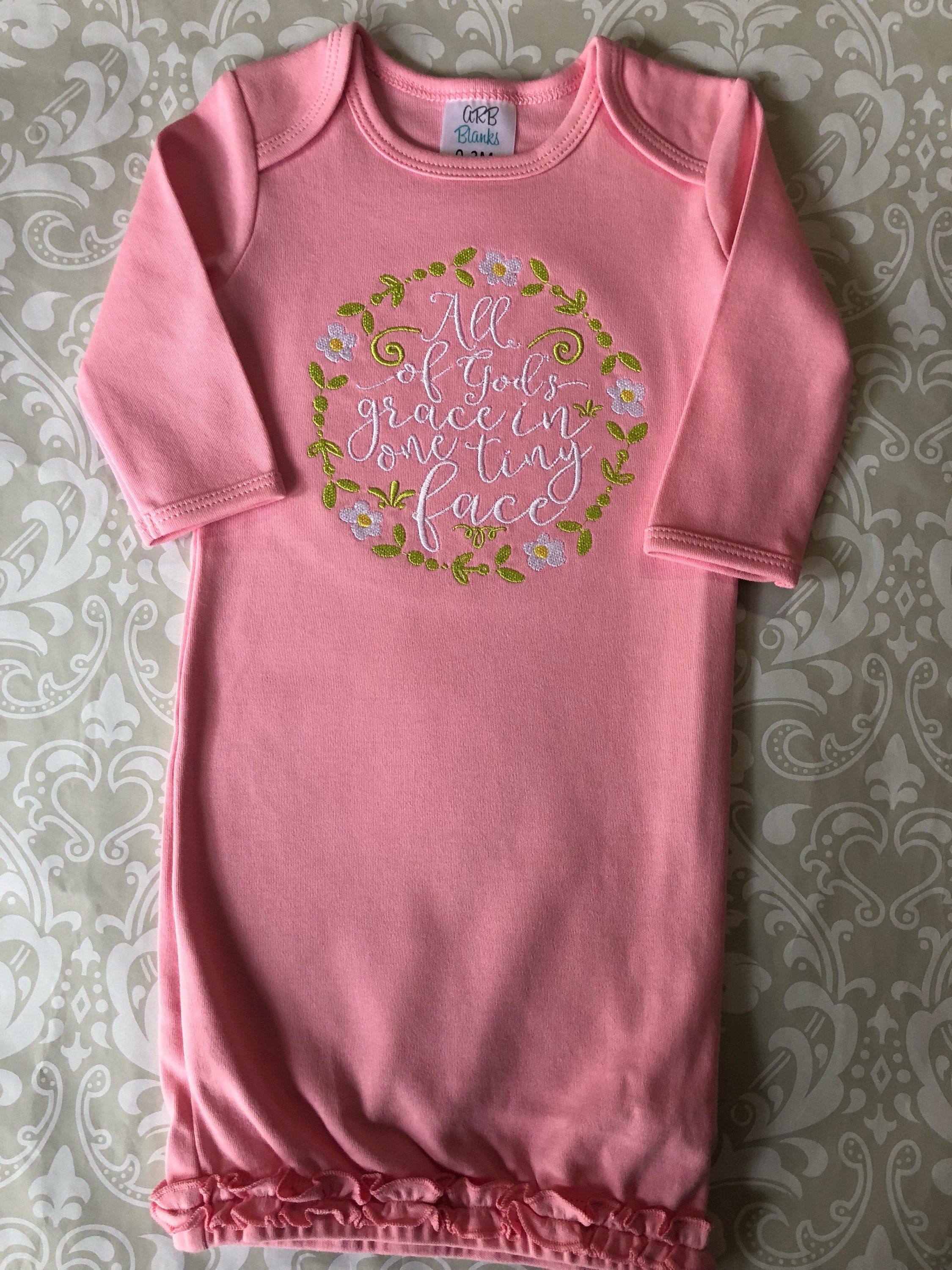 All God\'s grace in one tiny face embroidered baby gown, pink ruffle ...