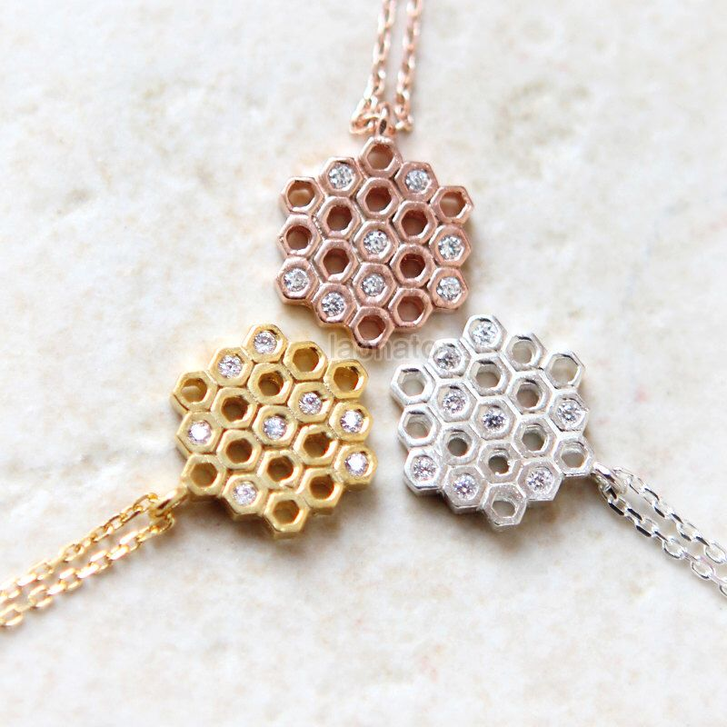 CZ Beehive Necklace in 925 sterling silver / choose your color, gold , silver and pink gold by laonato on Etsy https://www.etsy.com/listing/203158241/cz-beehive-necklace-in-925-sterling