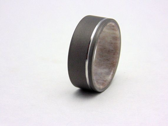 Antler ring Blasted Titanium and Elk Antler wedding ring polished