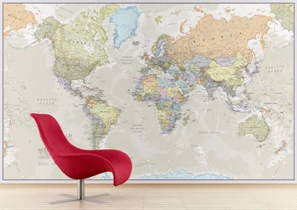 World Map Wallpaper - Buy Online - Maps International | Best ...