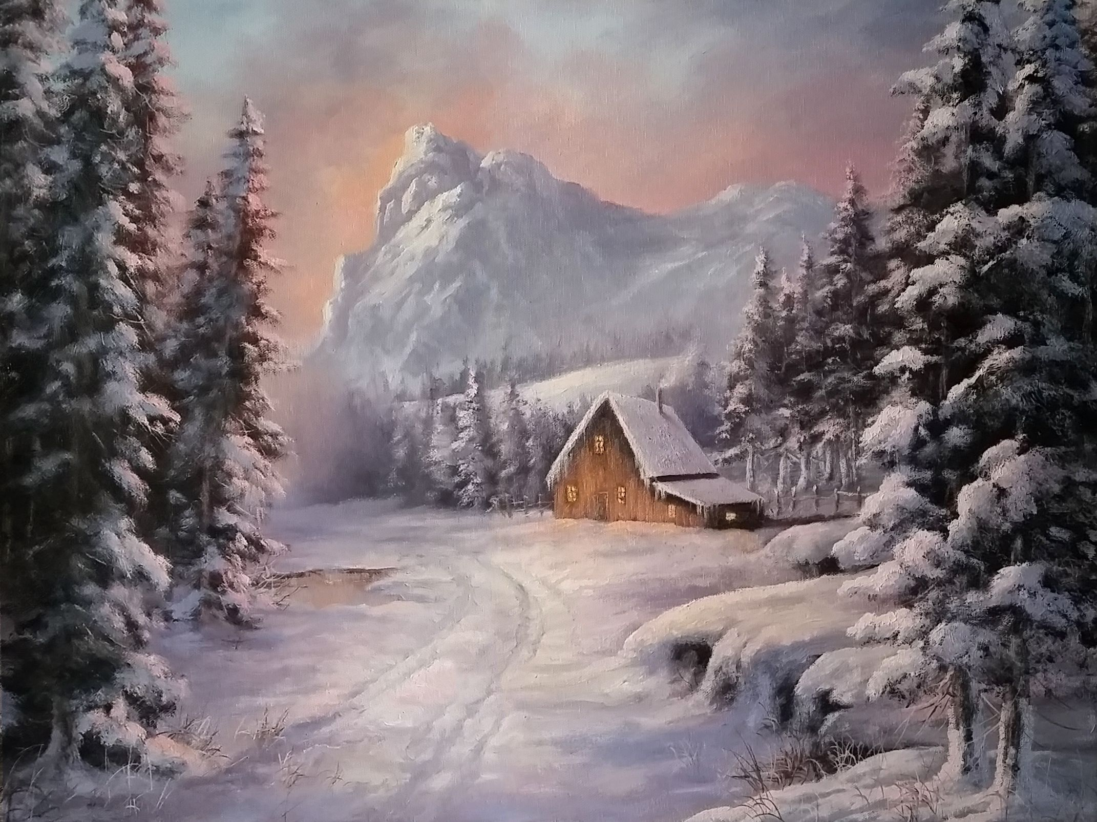 Winter Cabin Oil Painting By Kevin Hill Watch Short Oil Painting Lessons On Youtube Ke Landscape Painting Lesson Kevin Hill Paintings Oil Painting Landscape