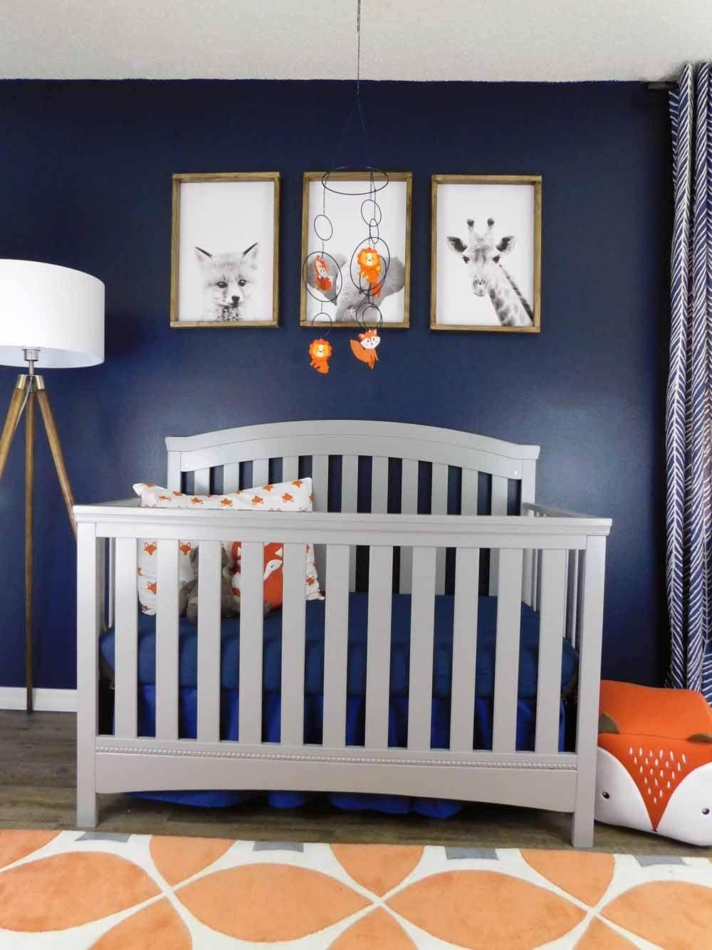 Navy Gray And Orange Baby Room Reveal Baby Decor Baby Nursery