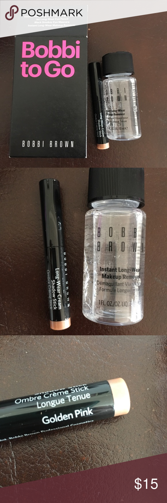Bobbi Brown 2 piece bundle Golden Pink Long Wear Cream Shadow stick and Instant Long Wear Makeup removed (1 fl oz) - bought on posh but just needed the mascara and eye liner so reposting the rest- NIB- unused- I removed what I wanted. Bobbi Brown Makeup
