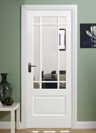 Solid white downham internal door composite construction with clear  bevelled glazed units