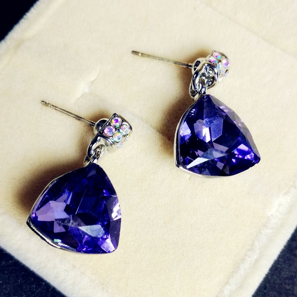 Find More Drop Earrings Information about Geometric Minimalistic Jewelry Faceted Crystal Purple Triangle Drop Earrings Silver Tone AB Crystal Post Triangular Drop Earring,High Quality silver earrings drops,China earrings drops Suppliers, Cheap earrings silver from Dreamland Dresses & Accessories on Aliexpress.com