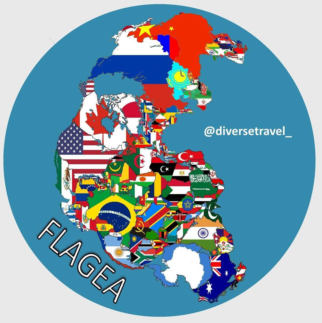 Current World Map Of Countries.If Pangea Had Current World Borders With Flags Maps Pinterest