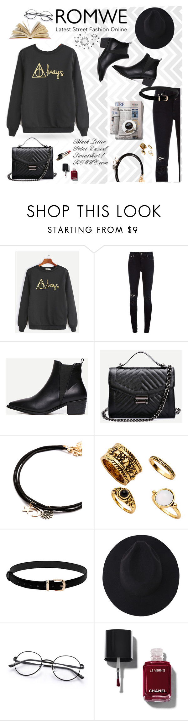 """ROMWE Black Letter Print Casual Sweatshirt"" by miss-maca ❤ liked on Polyvore featuring Seed Design, Closed, Chanel and 7 For All Mankind"