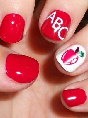 Back To School Nail Art With Apple Red Polish And Abc Back To