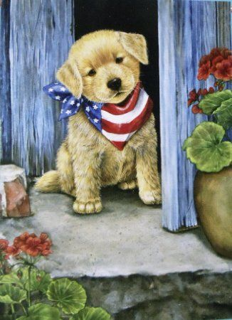 Amazon Com Puppy Dog With Usa Bandana Large Flag 28 X 40