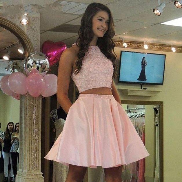 Neu Zweiteiler Kurz Rosa Abiballkleid mit Strass   Kleider ...