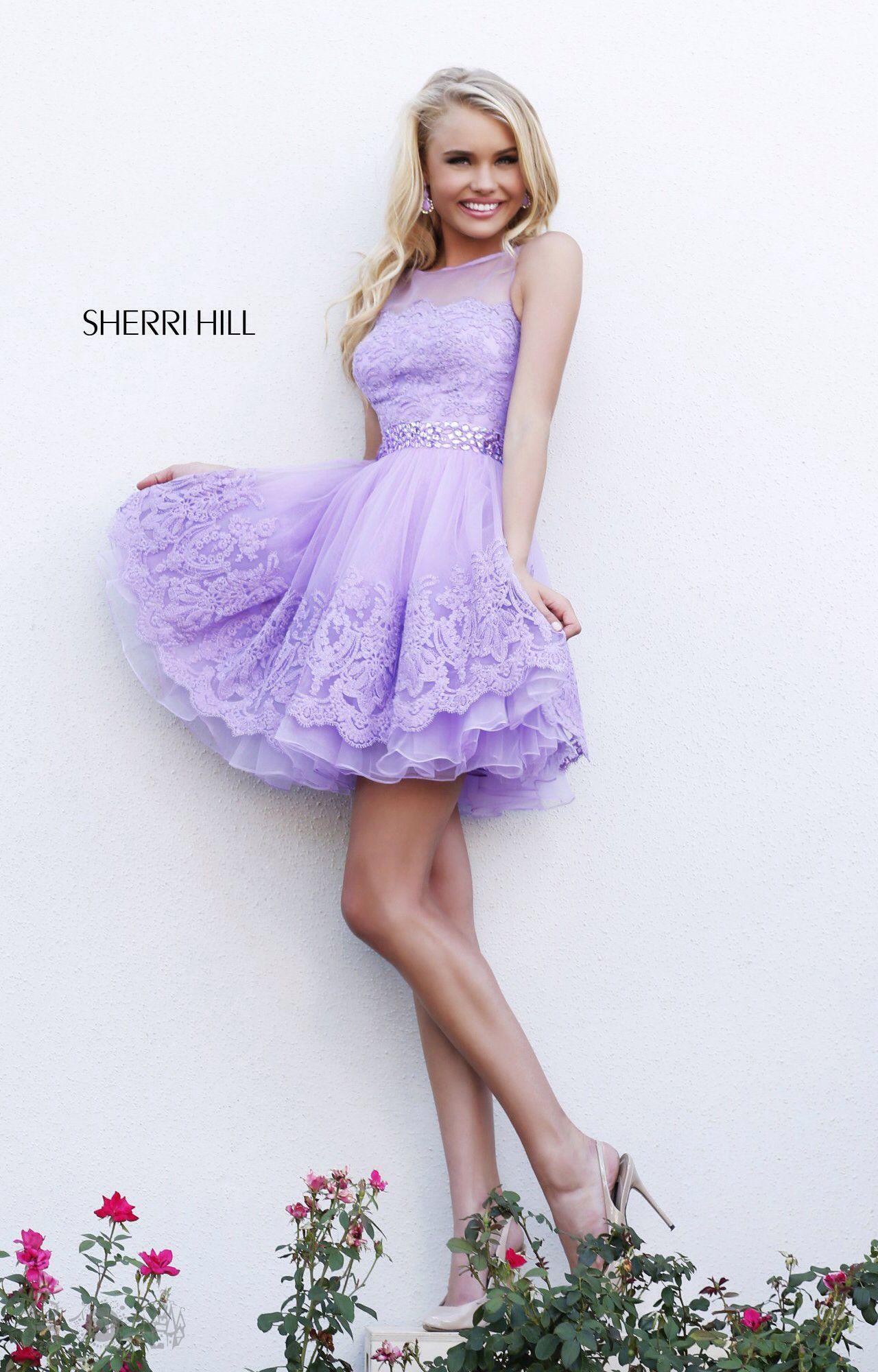 A luxury lace lavender cocktail dress | Sherri Hill Designer Dresses ...