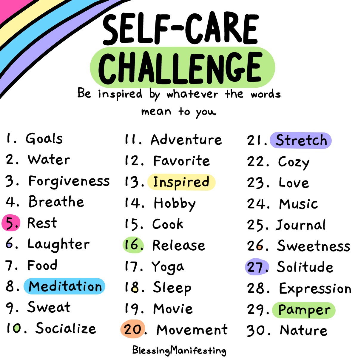 Self Care Challenge July Check In