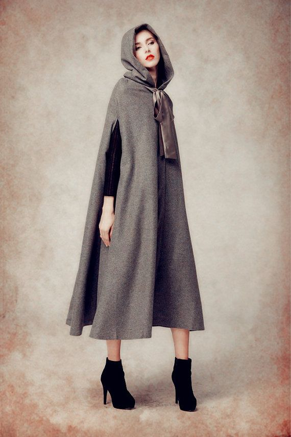 f2d0849948b4a hooded cape long wool coat for women high end fabric fully lined a button  on the fastening with neck belt oversized hooded design