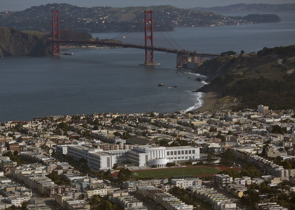 George Washington High School with the Golden Gate Bridge in the background.