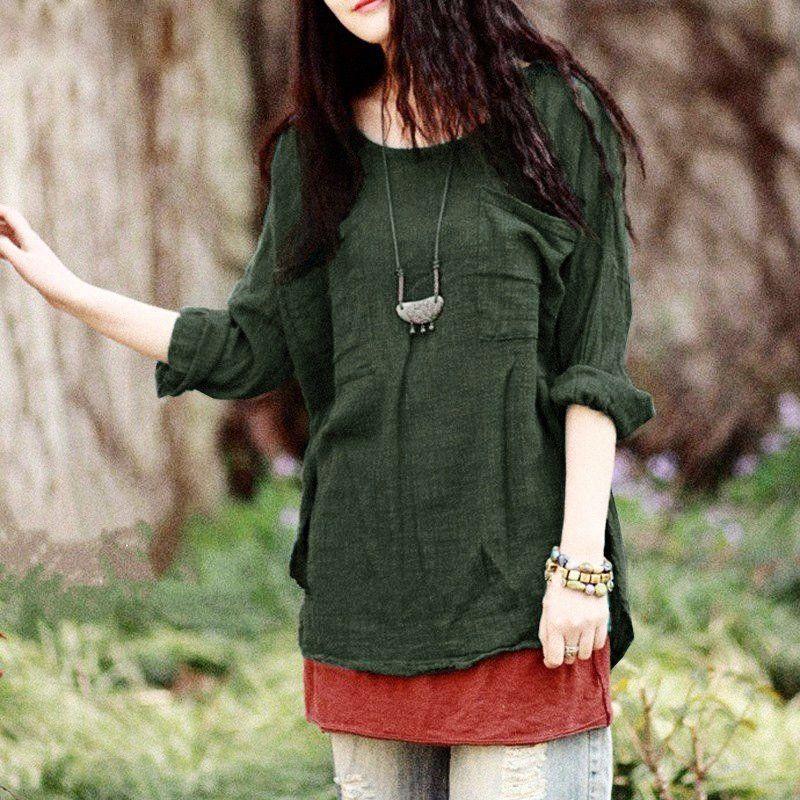 Vintage Loose Pocket Shirt Blouse