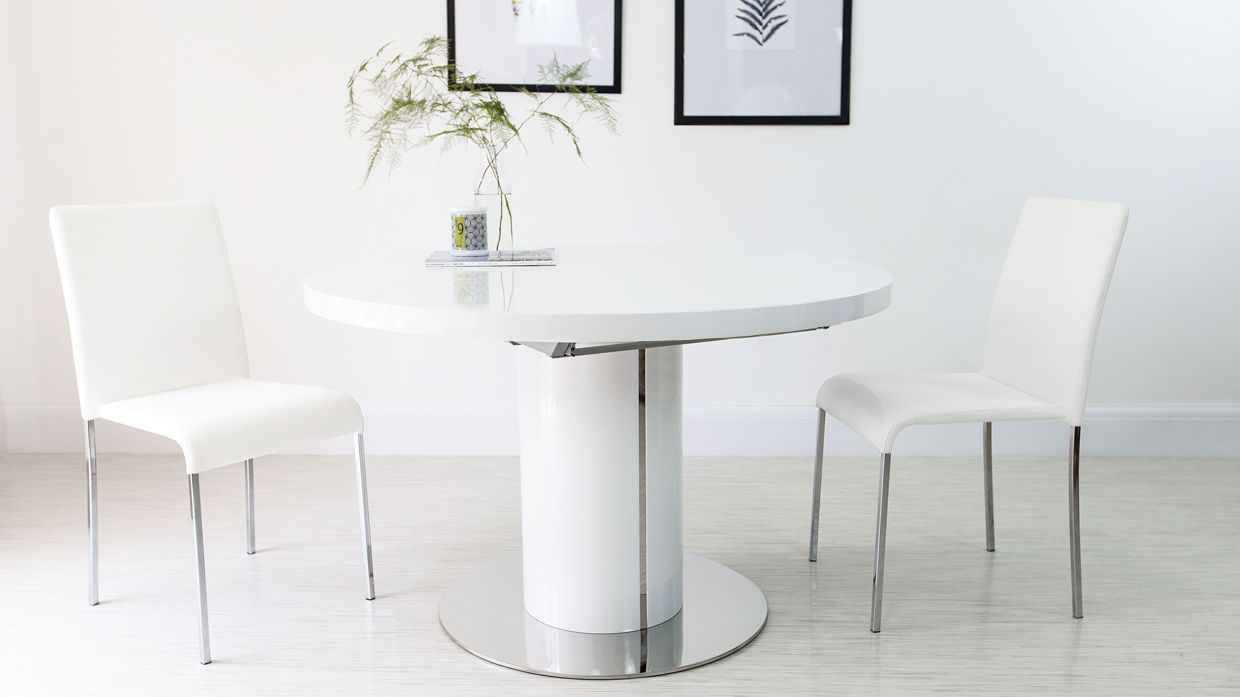 Curva+Round+White+Gloss+Extending+Dining+Table+£599.00