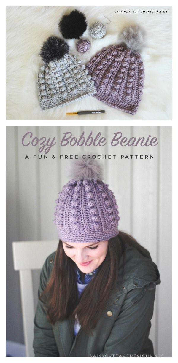 Bobble Beanie Free Crochet Pattern | Knitting and crochet ...