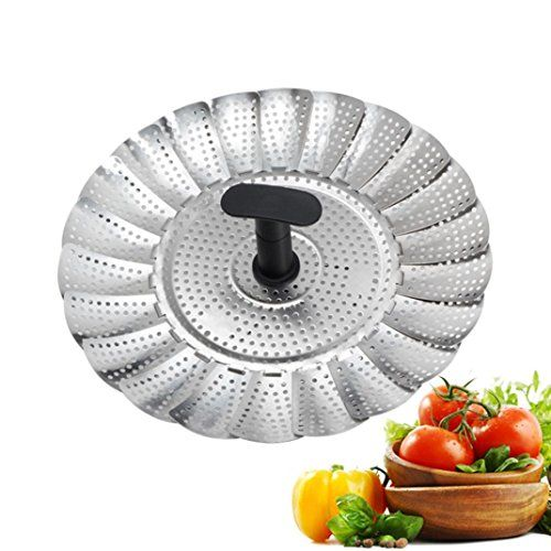 Zloskw Vegetable Steamer Basket Stainless Steel Folding Collapsible Insert For Various Size Pots Good Grips Ceramic Cookware Stainless