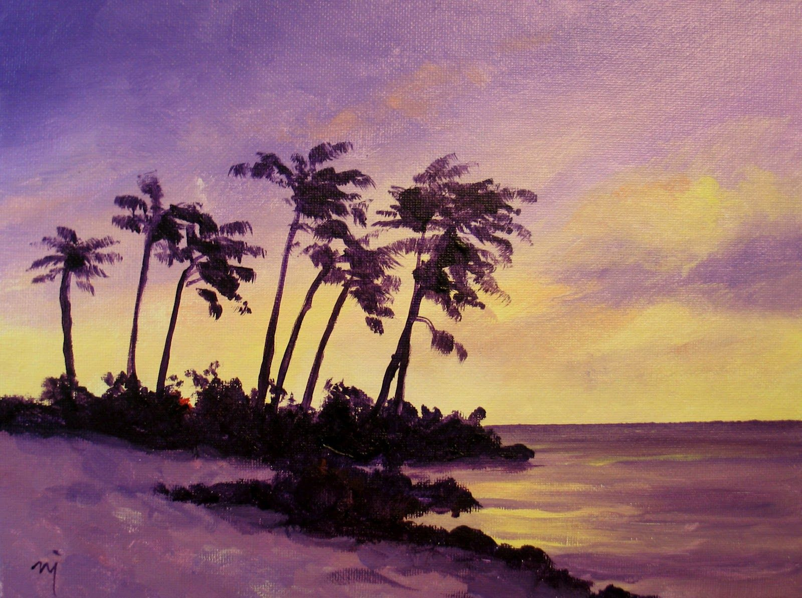 Simple Painting Easy Paintings Tropical Sunset Sold Possible Paintings