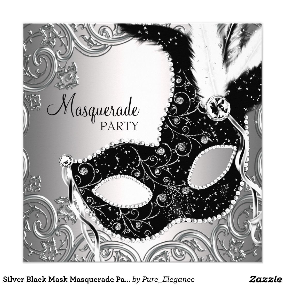 Silver Red and Black Mask Masquerade Party Card – Masquerade Party Invitation Template