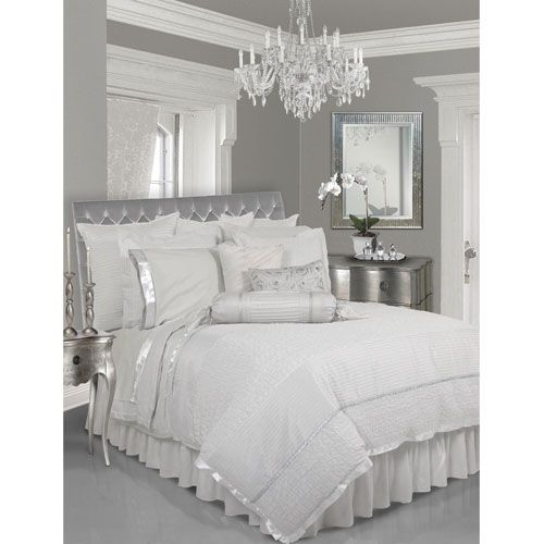 Silver White Bedroom Throwing Out All Of Our Comforters And Going With A Clean Elegant Look When Kids Silver Bedroom Bedroom Inspirations Bedroom Design