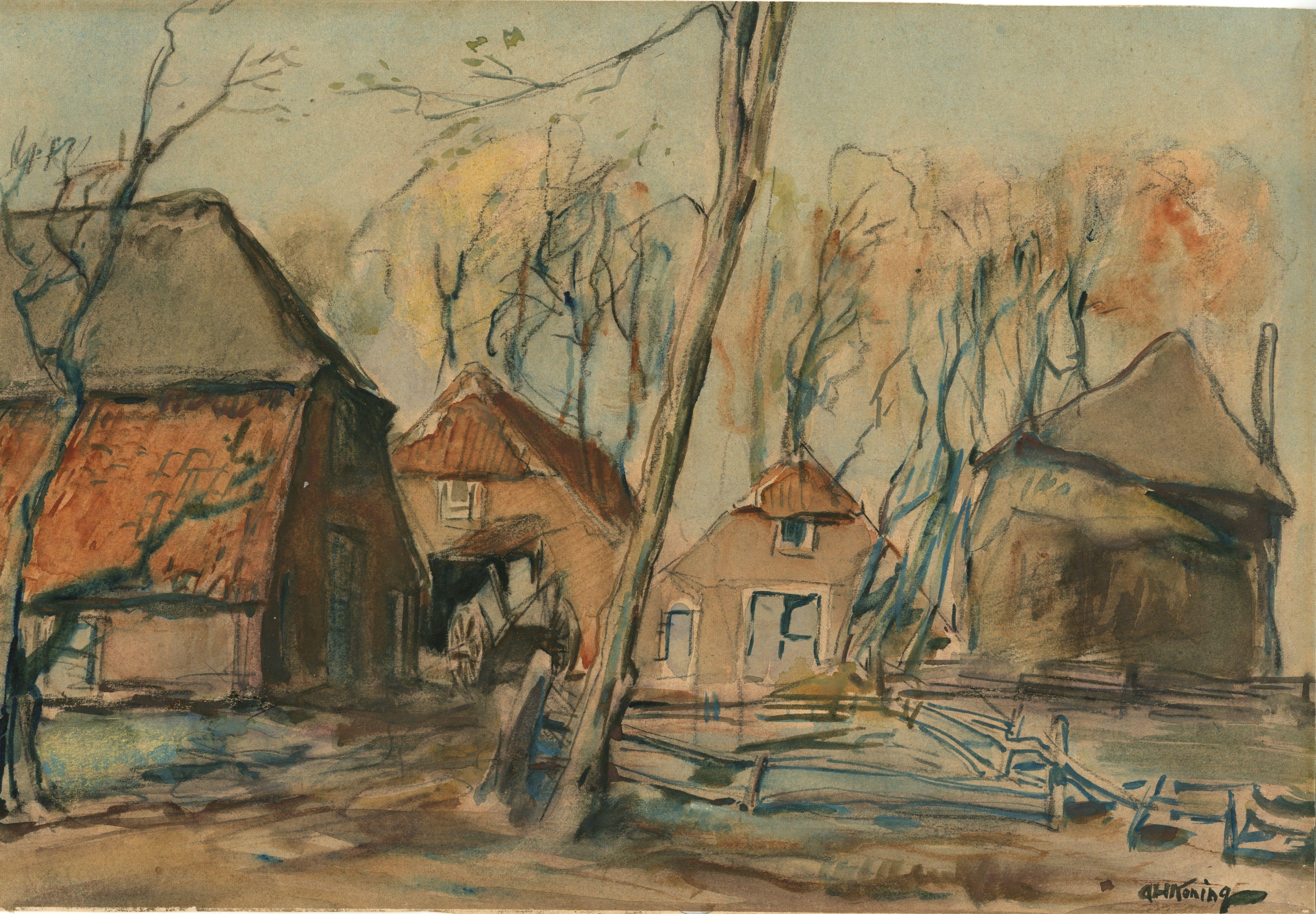 Boerderij De Vaarkamp is door Arnold geschilderd rond 1910. De historische vereniging Lunteren heeft geholpen om de afbeelding te localiseren, Het tegenwoordige adres van het rijksmonument is Postweg 64.
