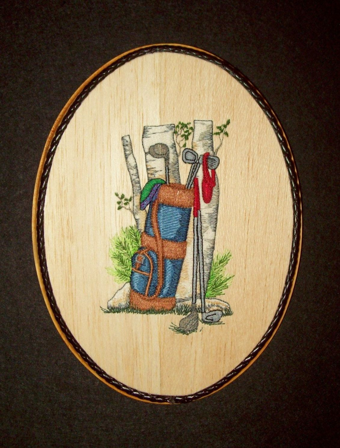 Golf Wall Decor Wood Embroidery Art, Gift for Golfers, Office Wall ...
