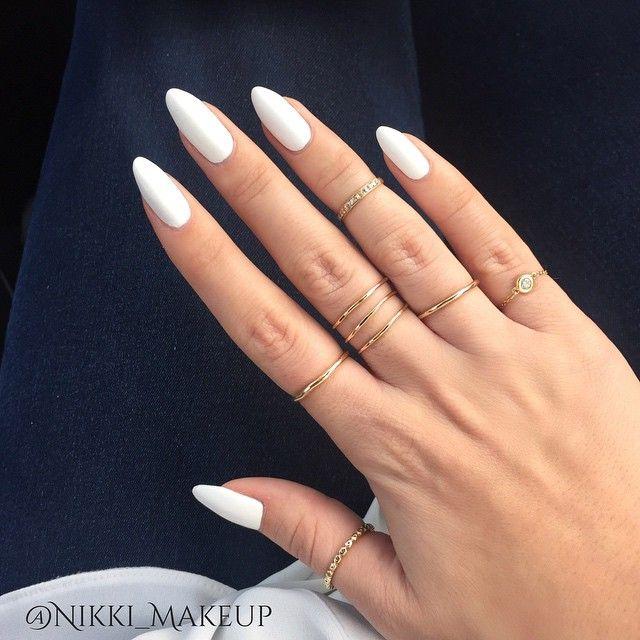 Matte White Nikki Makeup Naturalnails Allwhite Oval Acrylic Nails Oval Nails Acrylic Nail Shapes