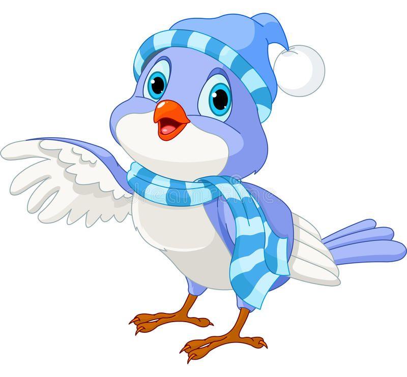 Illustration About Cartoon Illustration Of A Cute Winter Talking Bird Illustration Of Hello Vector Animal Cartoon Illustration Winter Bird Bird Illustration