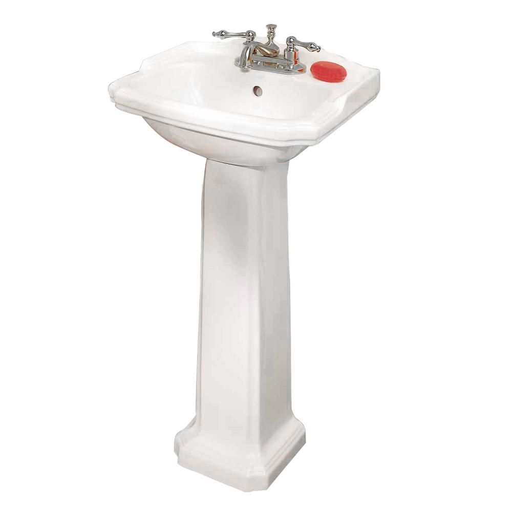 Renovators Supply Manufacturing Cloakroom 19 In Pedestal Combo Bathroom Sink In White With Overflow In 2020 Pedestal Sink Sink Bathroom Sink